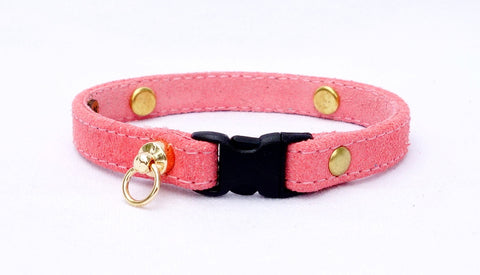 Pink Suede Cat Collar