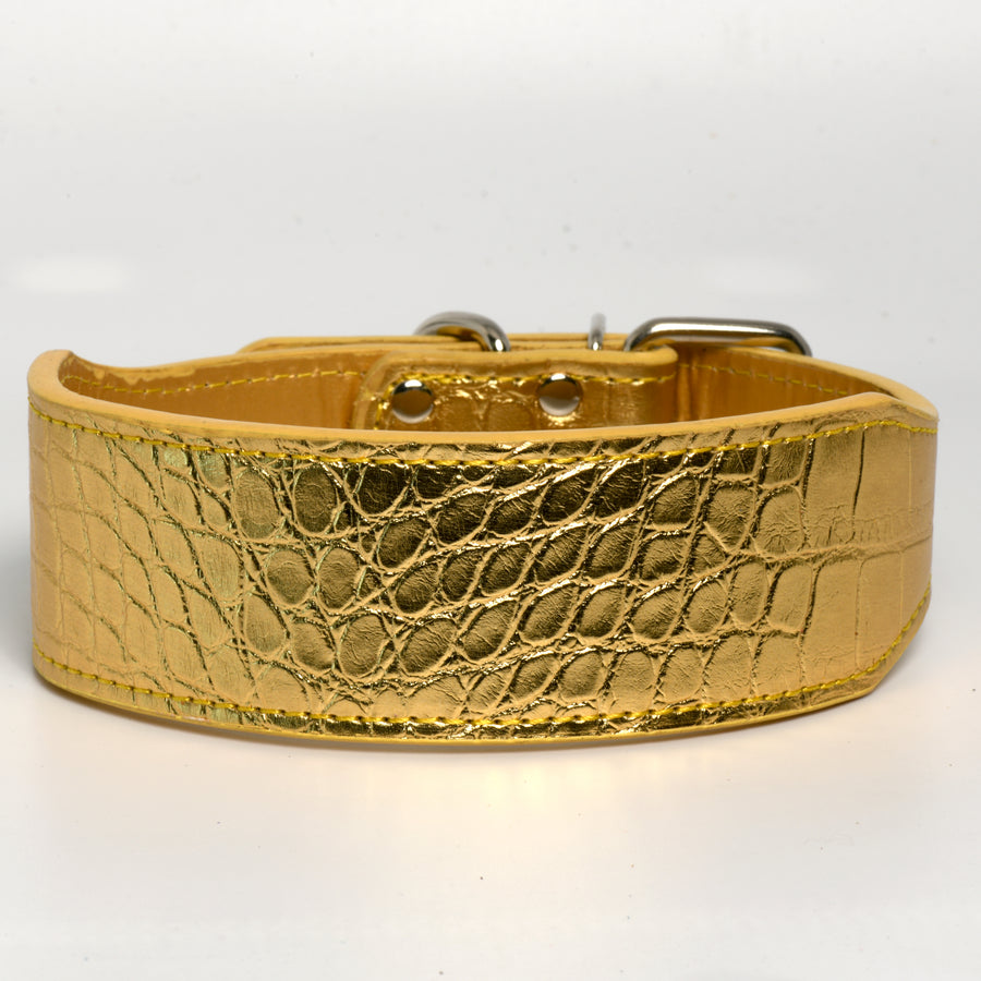 Leather Gator Print Dog Collar in Gold 2 Inch Wide