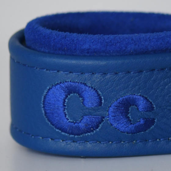 Royal Blue Leather and Suede Dog Collar personalized 3 widths available