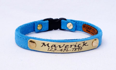 Sky Suede Cat Collar 3/8 inches Wide