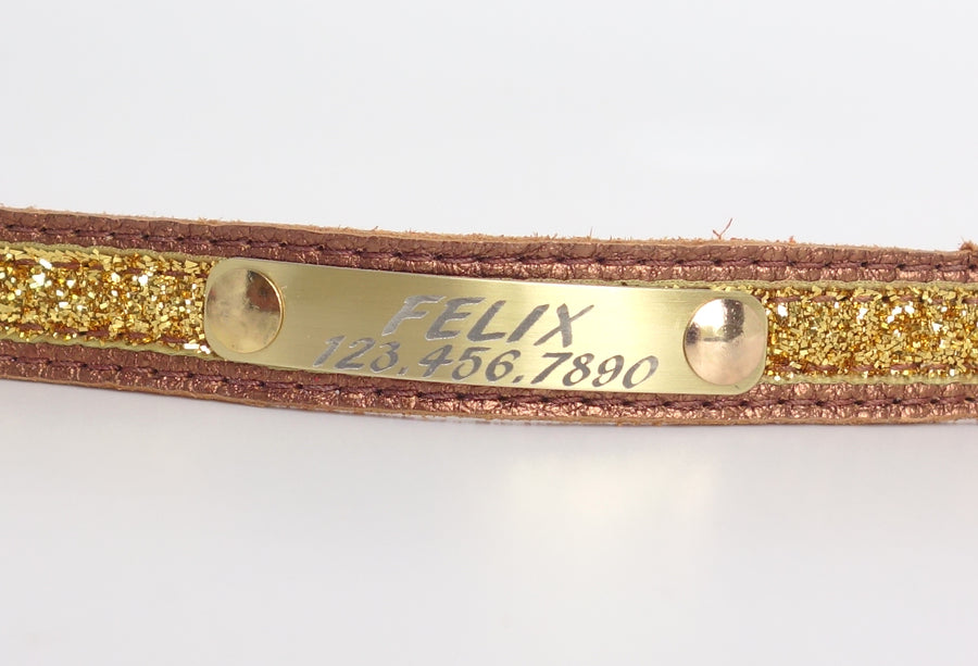 Personalized Leather Cat Collar in Full Grain Leather Engraved Info on Light Weight Aluminum Plate