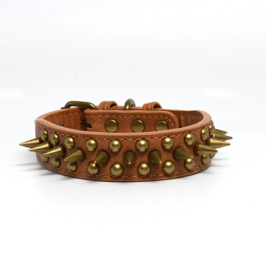 Brown Leather Spike 1 Inch Dog Collar