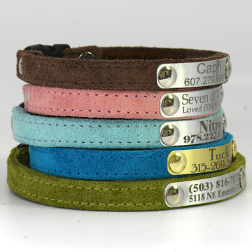 All Suede Cat Collar Personalized Engraved Plate