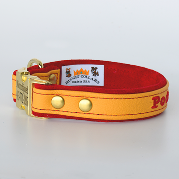 Custom Leather Dog Collar w/ side release quick snap buckle with Suede Lining One Inch width