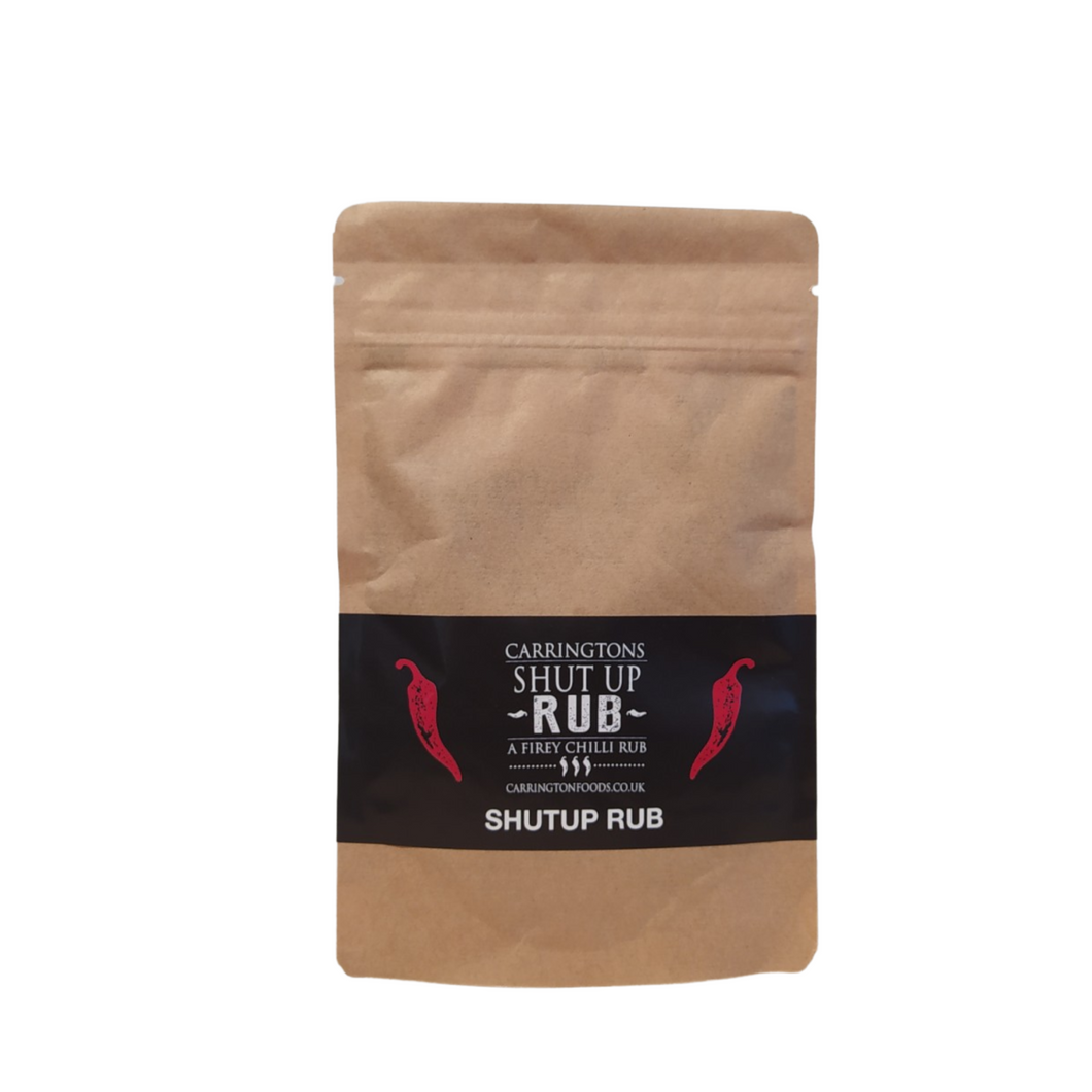 Carrington's Shut Up Rub - A Letterbox Pack of Naga Chilli BBQ Rub - Chicken, Beef or Seasoning for Wedges