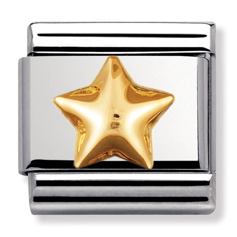 Nomination Italy Composable Raised Gold Star Link  - 030110-12