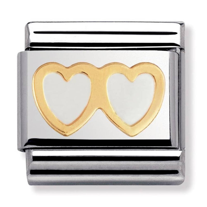Nomination Italy Composable White Double Heart Link  - 030207-08