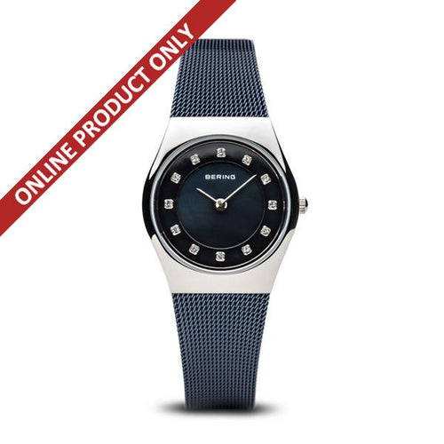 Bering Ladies Classic Quartz Blue and Stainless Steel Watch 11937-307