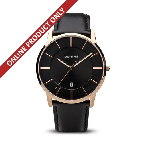 Bering Gents Quartz Black and Rose Gold Watch 13139-466