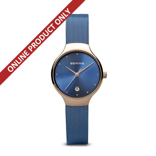 Bering Ladies Classic Quartz Blue and Rose Gold Watch 13326-368