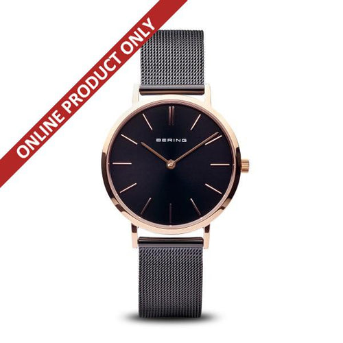 Bering Ladies Quartz Black and Rose Gold Watch 14134-166