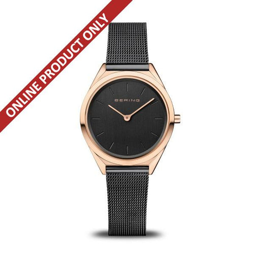 Bering Unisex Ultra Slim Classic Black and Rose Gold Watch 17031-166