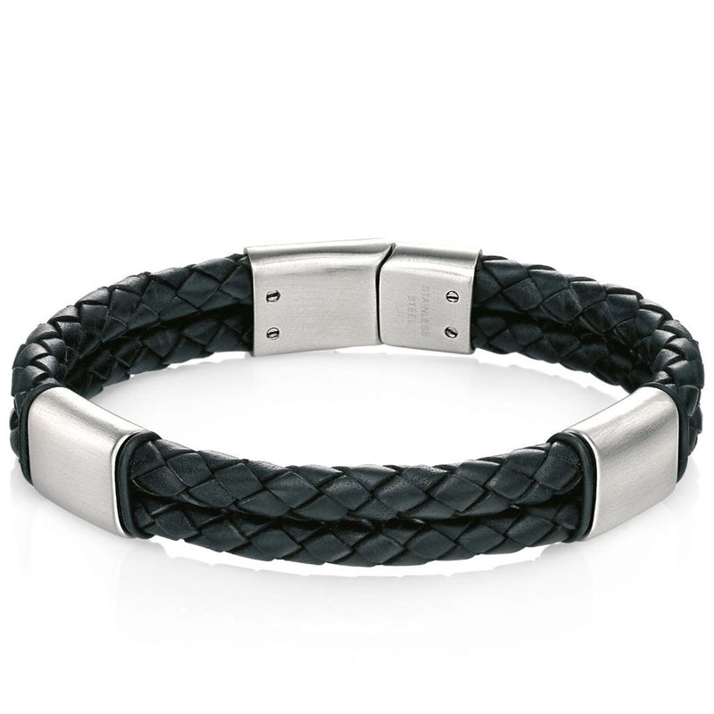 Fred Bennett Black leather bracelet with brush finish B4373