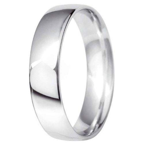9ct White Gold 5mm Classic Court Wedding Ring