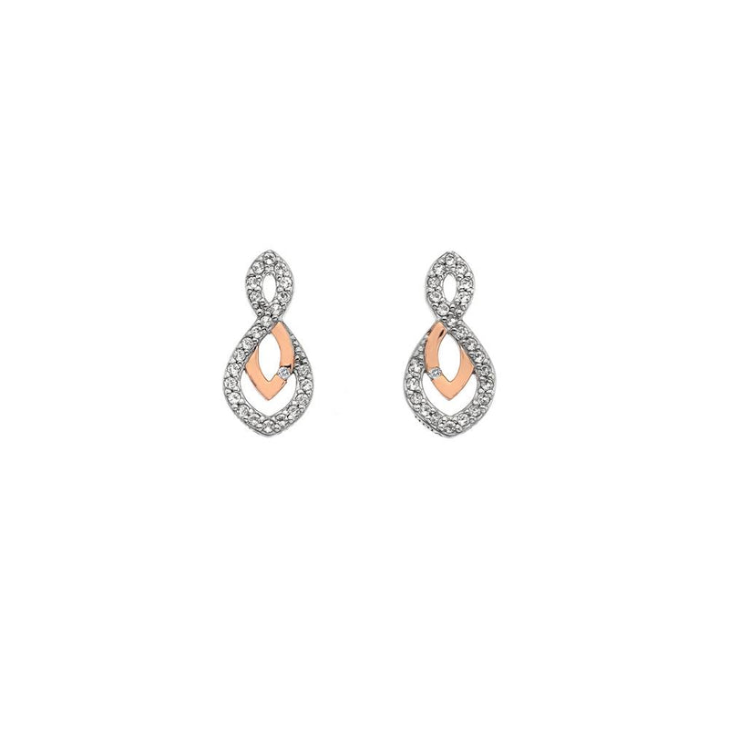 Hot Diamonds at Hemstocks Jewellers DE608 Harmony White Topaz Earrings - Rose Gold Plate Accents