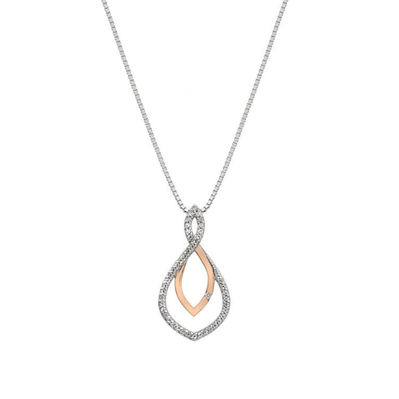 Hot Diamonds Silver Harmony White Topaz Pendant DP734- Rose Gold Plate Accents