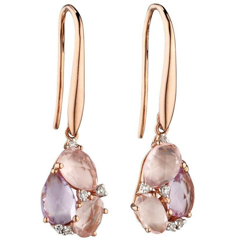 Rose De France And Rose Quartz Tear Drop Cluster Earrings Yellow Gold