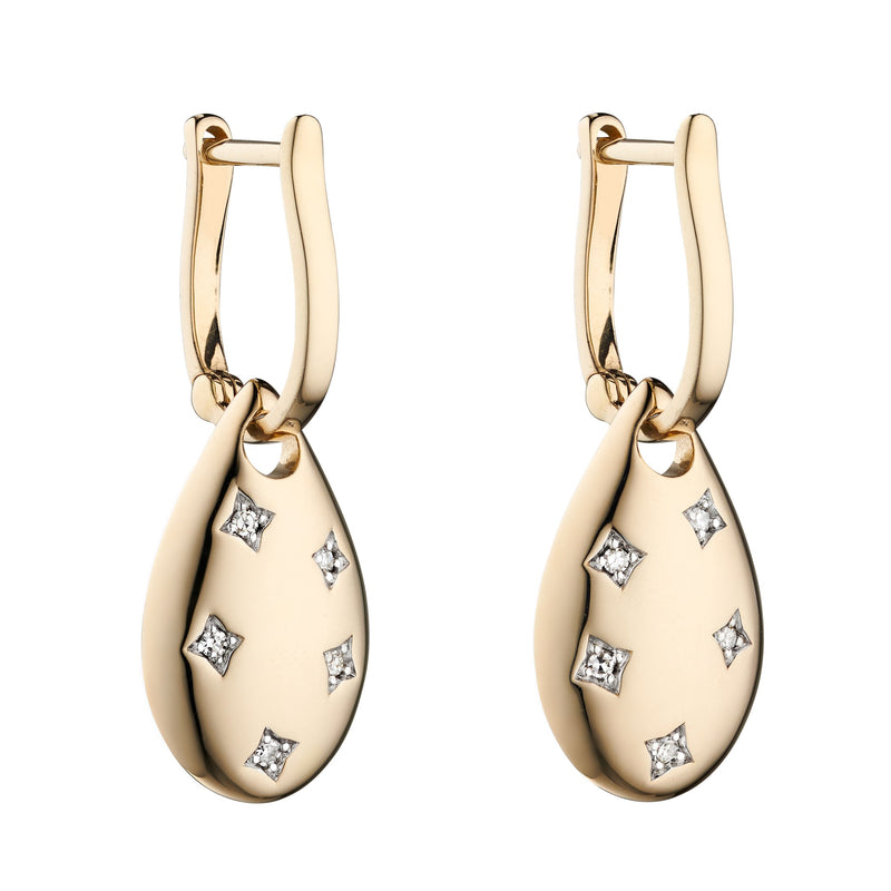 A  Yellow Gold Diamond Cut Out Drop Shape Earrings Part Of The Norwich Jewellers Hemstocks Range