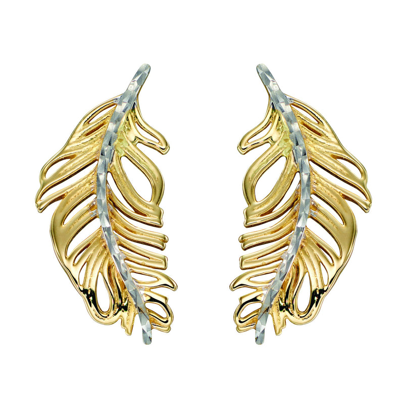 A Feather Earrings Yellow And White Gold Part Of The Norwich Jewellers Hemstocks Range