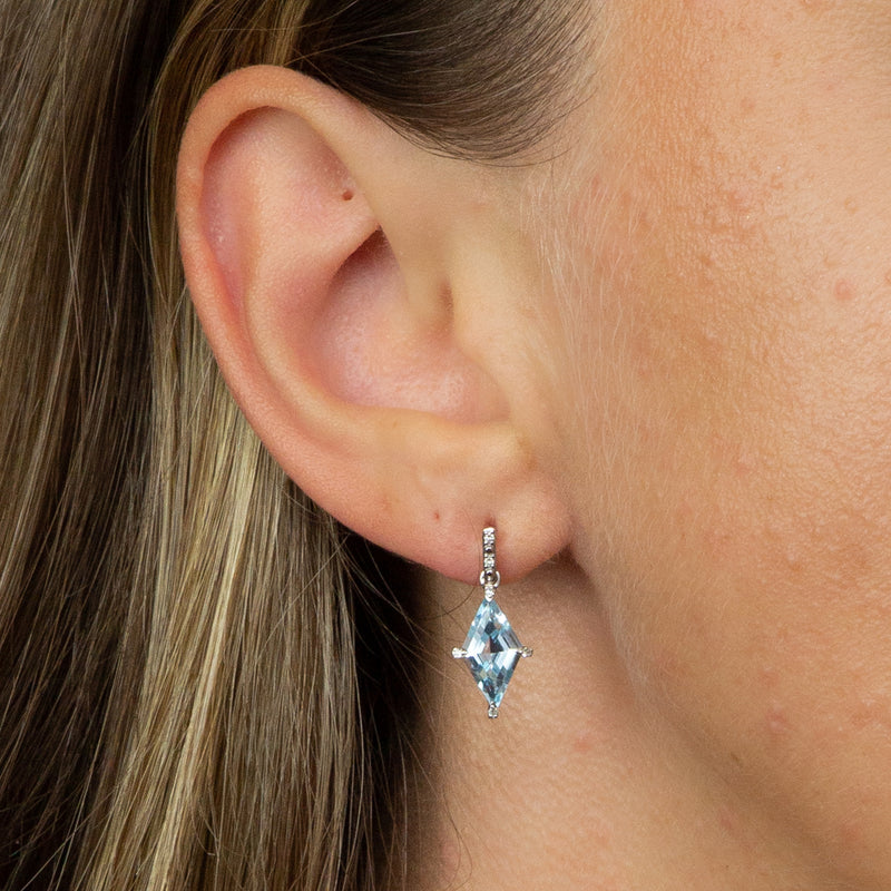 Kite Shape Blue Topaz Earrings In 9ct White Gold