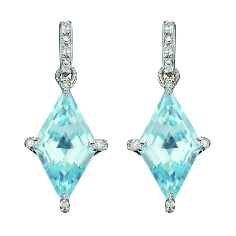 A Kite Shape Blue Topaz Earrings In White Gold Part Of The Norwich Jewellers Hemstocks Range