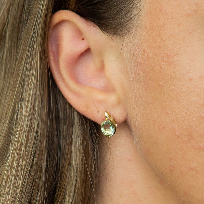 Green Fluorite Swirl Studs 9ct Yellow Gold