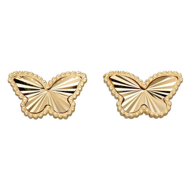 Granulation And Diamond Cut Yellow Gold Butterfly Earring Studs