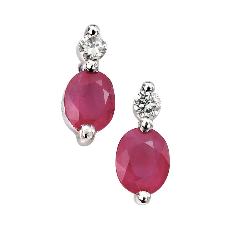 A 9Ct White Gold Diamond And Ruby Earrings Part Of The Norwich Jewellers Hemstocks Range