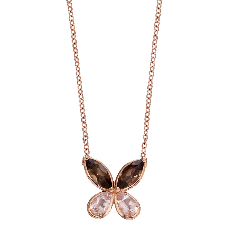 A Semi Precious & Rose Gold Butterfly Necklace Part Of The Norwich Jewellers Hemstocks Range
