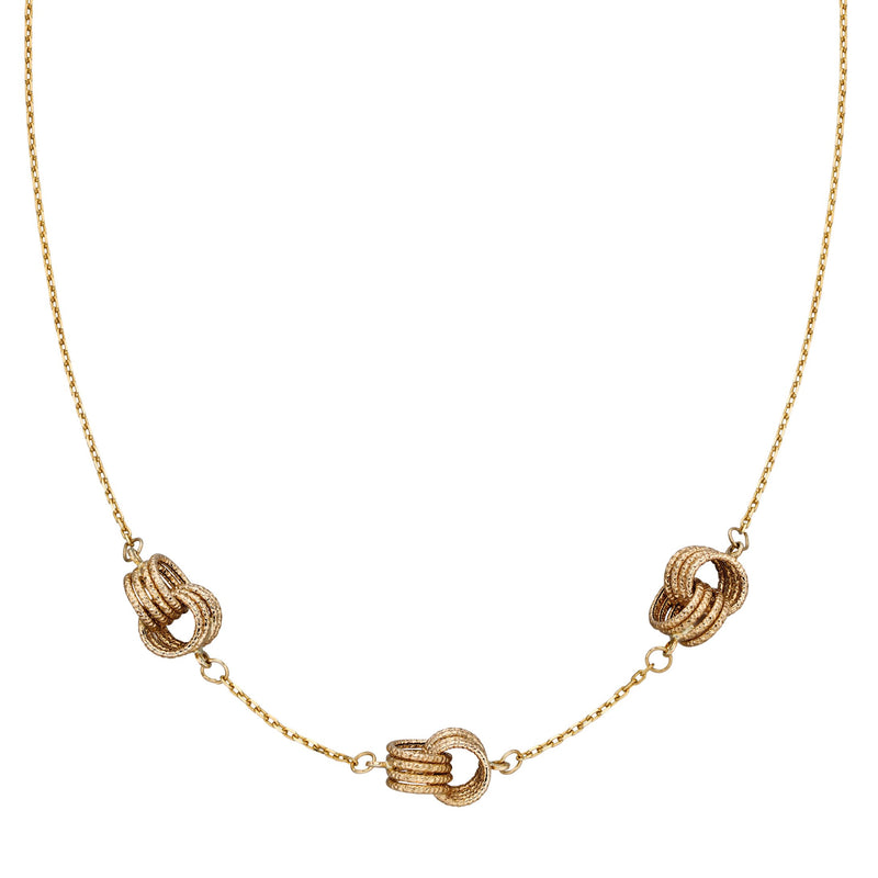 A Knot 3 Section Station Necklace Yellow Gold Part Of The Norwich Jewellers Hemstocks Range