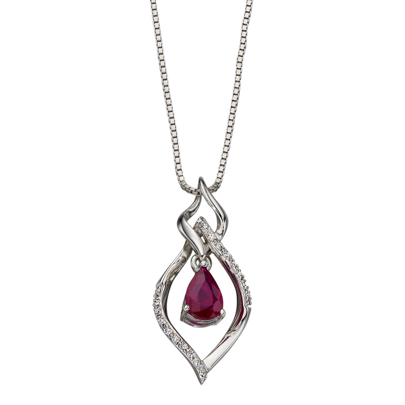A White Gold Open Marquise Ruby & Diamond Pendant Part Of The Norwich Jewellers Hemstocks Range