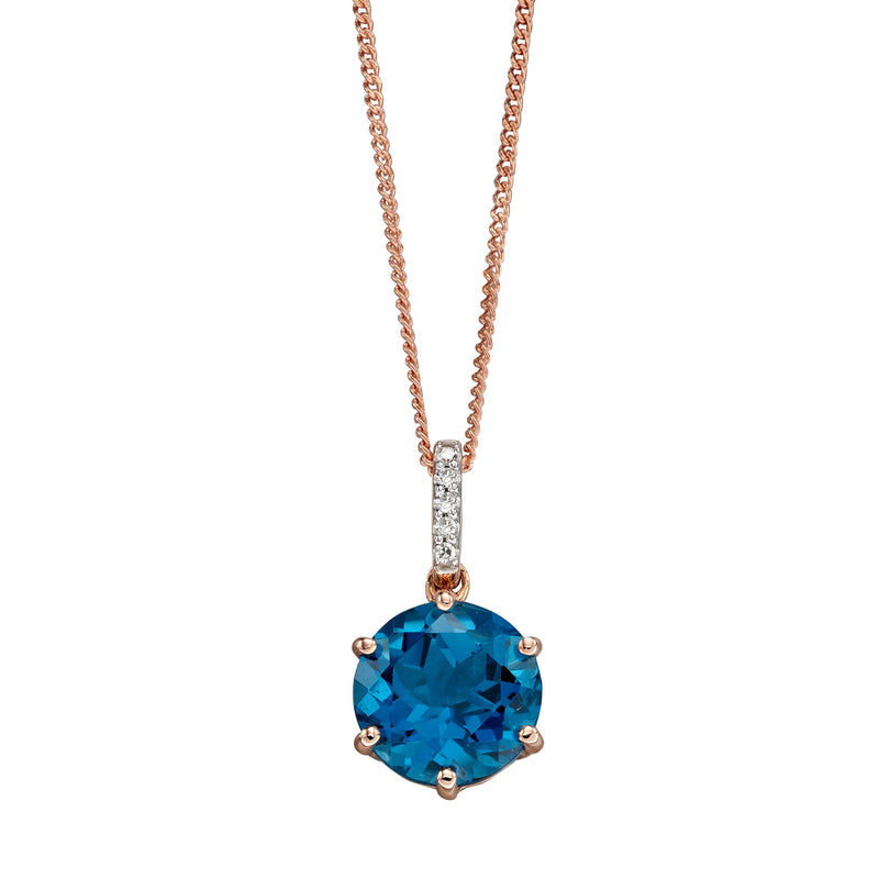 A Solitare London Blue Topaz Pendant Rose Gold Part Of The Norwich Jewellers Hemstocks Range