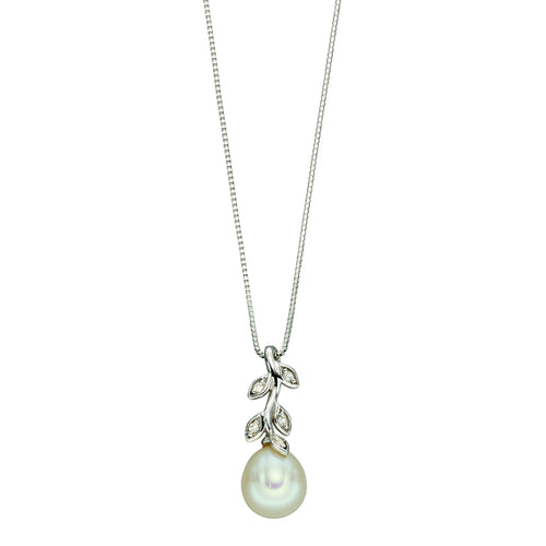 A White Gold Fresh Water Pearl & Diamond Leaf Design Pendant Part Of The Norwich Jewellers Hemstocks Range