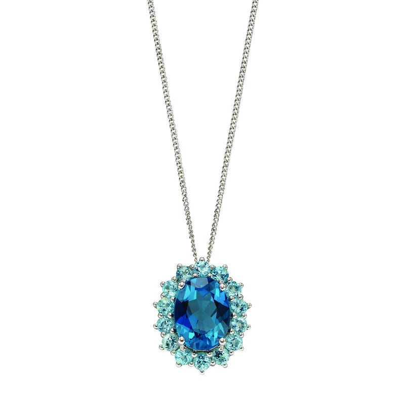 A London Blue Topaz And Sky Blue Topaz  Pendant White Gold Part Of The Norwich Jewellers Hemstocks Range