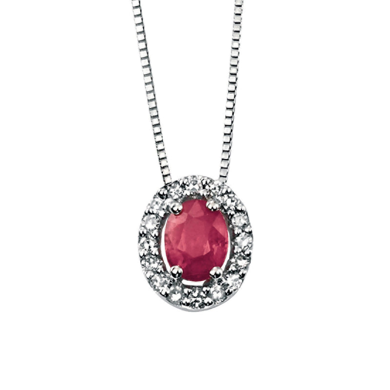 A White Gold Oval Ruby Pendant With Pave Diamonds Part Of The Norwich Jewellers Hemstocks Range