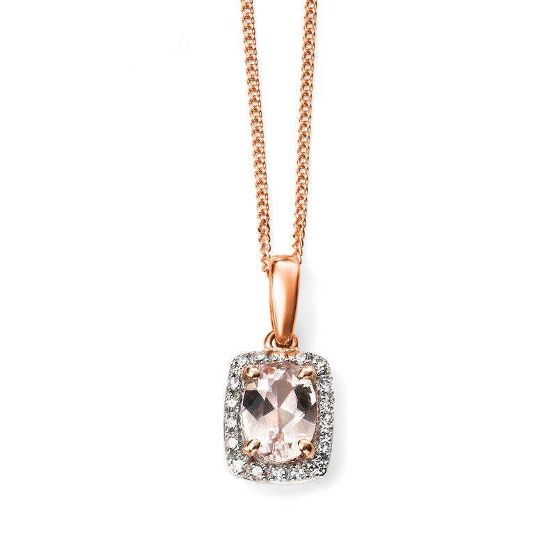 A 9Ct Rose Gold Diamond And Morganite Pendant Part Of The Norwich Jewellers Hemstocks Range