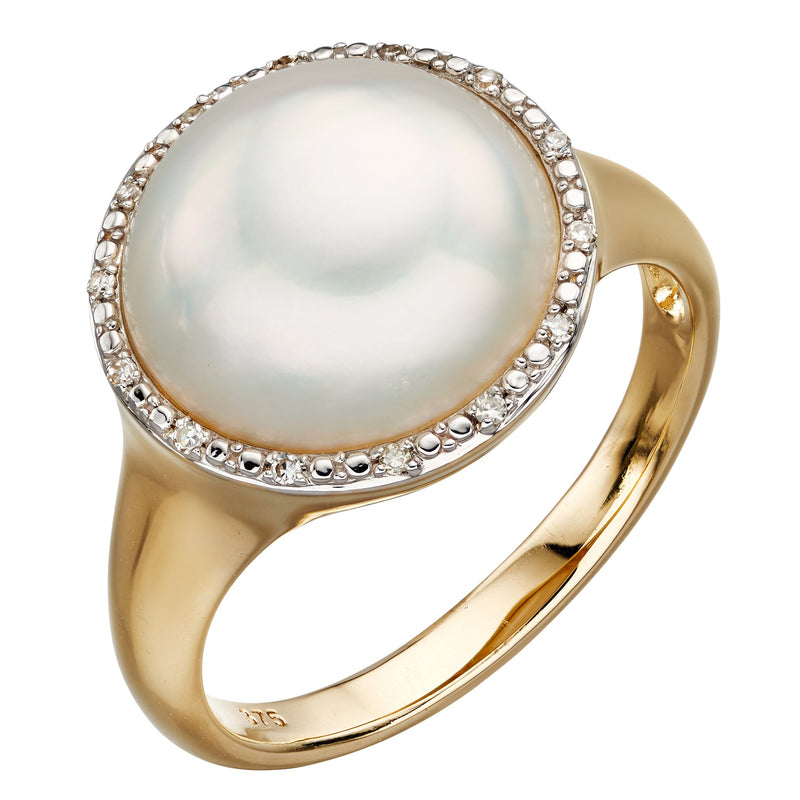 A Pearl Cab & Diamond Signet Ring Part Of The Norwich Jewellers Hemstocks Range