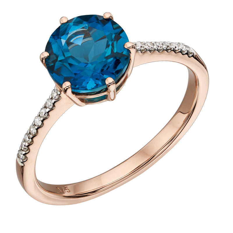 A Solitare London Blue Topaz  Ring Rose Gold Part Of The Norwich Jewellers Hemstocks Range