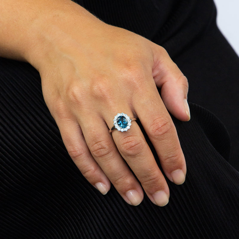 London Blue Topaz And Sky Blue Topaz Ring 9ct White Gold