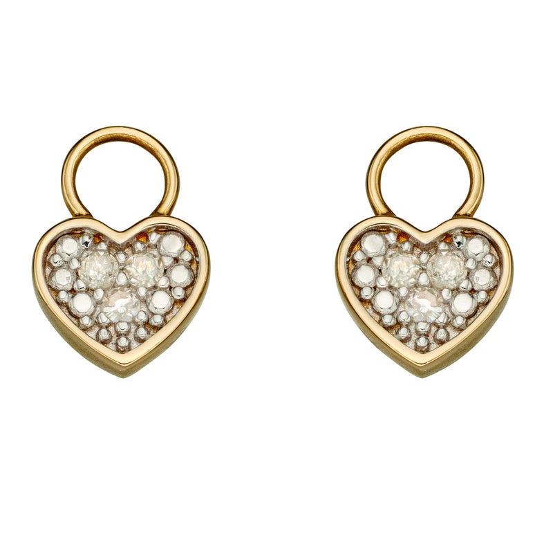A Earrings Pendant Heart With Diamond Set Illusion With Yellow Gold Part Of The Norwich Jewellers Hemstocks Range