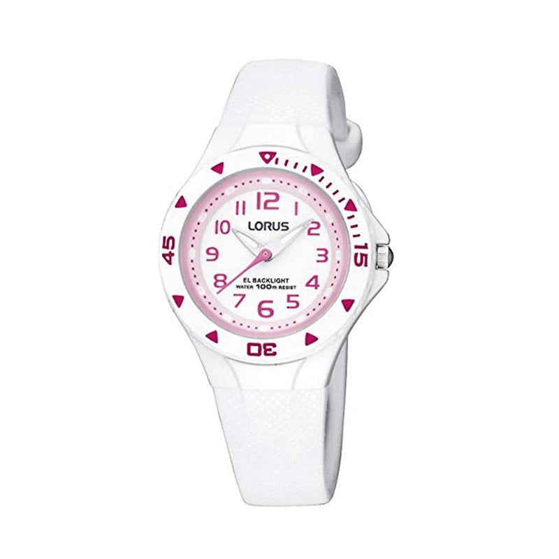 LORUS R2335DX9 Childrens Analogue Watch - White with Pink Numerals