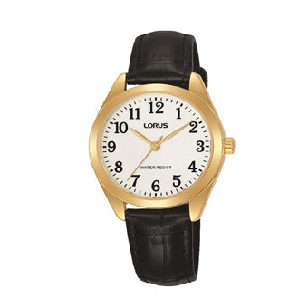 Lorus RG238TX9 Ladies Easy Reader Gold Case Black Leather Strap Watch