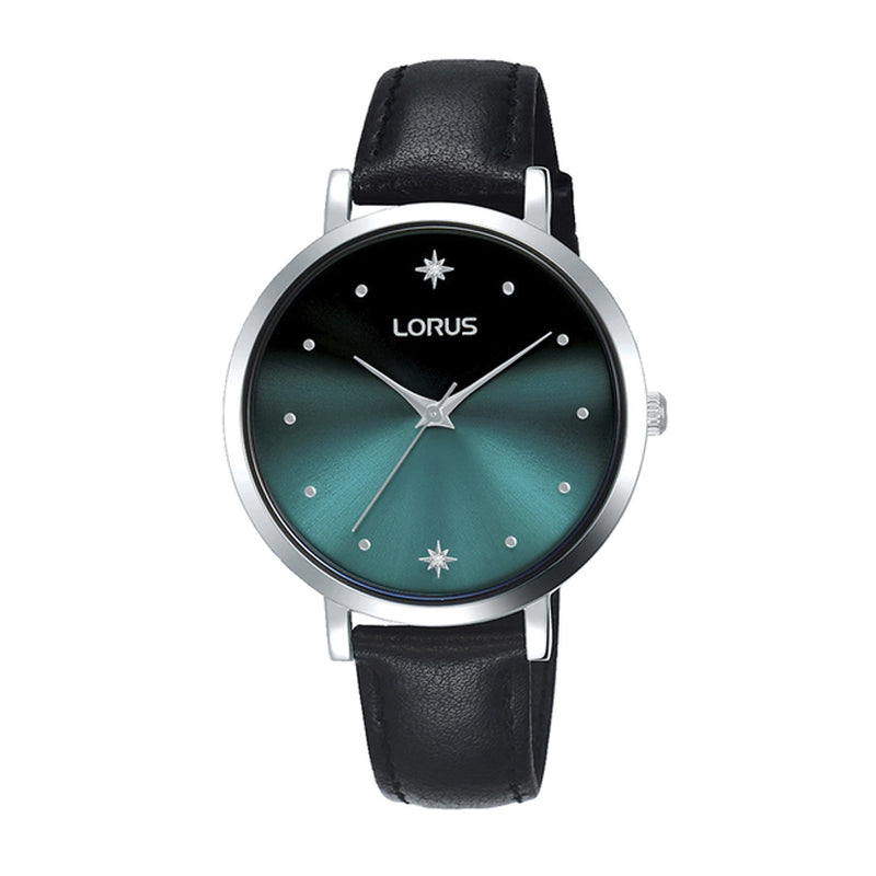 Lorus RG259PX9 Ladies Black Leather Strap Watch with Turquoise Gradiation Dial