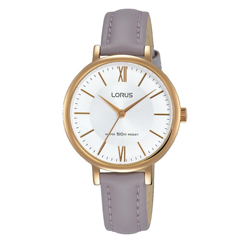LORUS RG264LX6 Ladies Elegant Mauve Leather Strap Watch with Rose Gold Plated Case