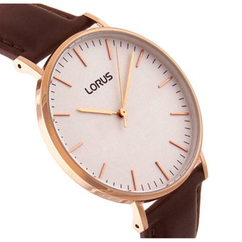 LORUS RH880BX9 Mens Stylish Slim Rose Gold Case Watch with Brown Leather Strap
