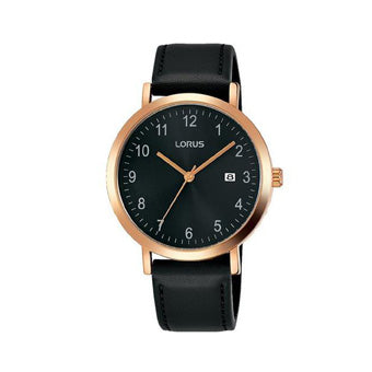 Lorus RH938JX9 Mens Rose Gold Plated Case Dress Watch with Sunray Black Dial