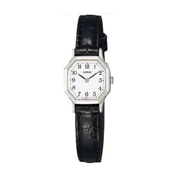 Lorus RPG39BX8 Ladies Black Leather Strap Dress Watch with Hexagonal Silver Case
