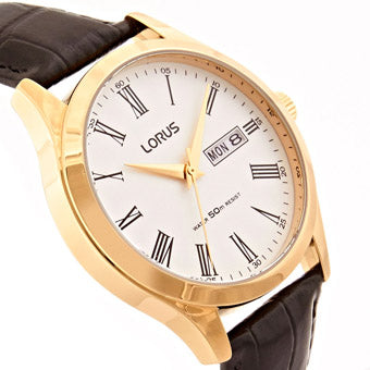 LORUS RXN54DX9 Mens Padded Black Leather Strap Gold Case Dress Watch