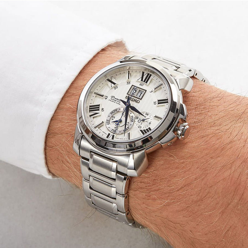 Seiko Premier Kinetic Perpetual Stainless Steel Bracelet Watch SNP139P1