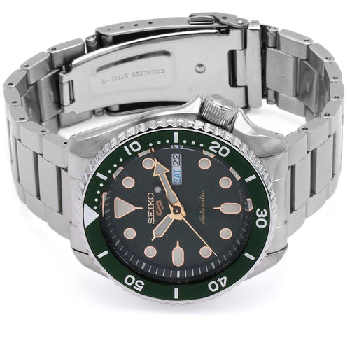 Seiko Men's Stainless Steel Green Dial 5 Sports Automatic Watch SRPD63K1